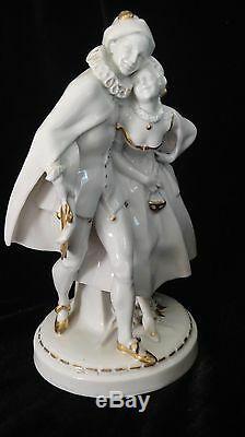 German Antique Hertwig & Co. Katzhutte Porcelain Dancer Figures Masquerade