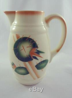 German Art Deco Bauhaus Era ceramic chocolate jug geometrical Spritzdekor design
