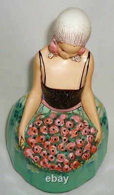 Gorgeous And Huge Art Deco Night Lamp Aladin Half Doll Flapper Basket Flowers
