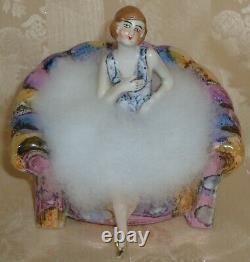 Gorgeous Antique German Art Deco Half Doll Lady On An Armchair Pin Cushion