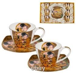 Gustav Klimt the kiss set of 6 cups and 6 saucers mug Porcelain LANCASTER