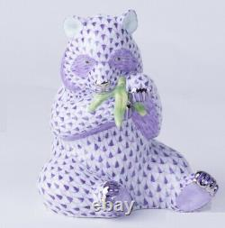 HEREND Hungary Porcelain Panda Bear 15348(VHL-PT) Lilac Platinum FISHNET New