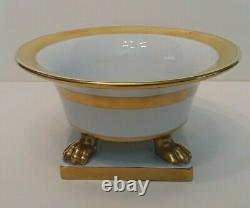 HEREND PORCELAIN CLAW FOOTED Cachepot Vase Gold Art Deco Pattern