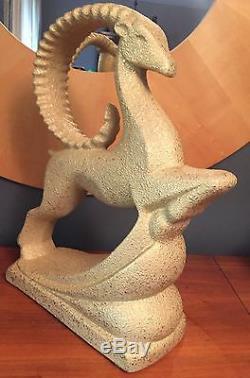 Haeger Mid Century Gazelle Ram Pottery Gold Art Deco Antelope Regency Statue