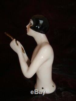 Half doll Figurine Mata Hari Sexy Mirror Half Doll Pincushion Arms Away Art Deco