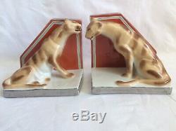 Henri Delcourt Boulogne Sur Mer Serre-livres Porcelaine Art Deco Panthere Tigre