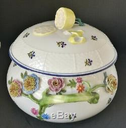 Herend Porcelain Hand Painted Queen Victoria Basket Soup Tureen