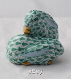 Herend Porcelain Miniature Bunny Rabbit Figurine Hungary Green Fishnet Easter