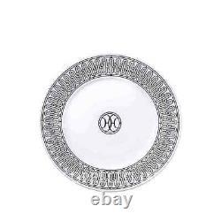 Hermes H Deco Pair Of No. 1 Dessert Plates #p037007p Brand Nib Porcelain F/sh