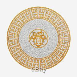 Hermes Mosaique Au 24 Gold Pair Of Dessert Plates #p026007p Brand Nib Save$ F/sh