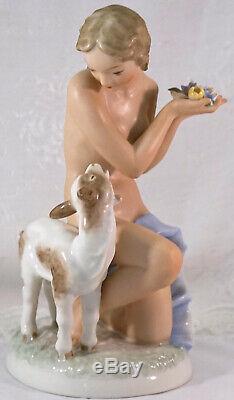 Hutschenreuther Porcelain Nude Lady Kneeling Holding Flowers & Goat Figurine