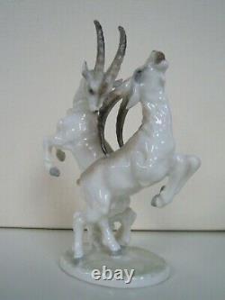 Hutschenreuther Rosenthal porcelain figurine Ibex goat Ram Goats fighting TUTTER