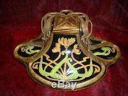 Inkwell Flower Art Deco Style Art Nouveau Style Porcelain Bronze Ceramic