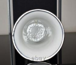 Italian Art Deco Solid Silver 900/1000 Over Lay, White Porcelain Vase, Stamped