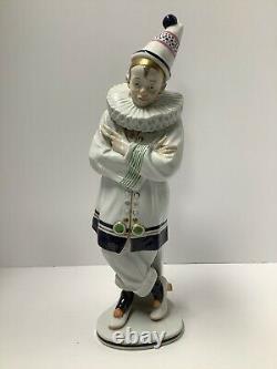 Karl Ens Volkstedt Porcelain Figurine Clown. Art Deco. Artist Signed Germany