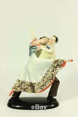 Katzhutte Art Deco Porcelain Figurine Dancing Couple C. 1930's Goldscheider Era