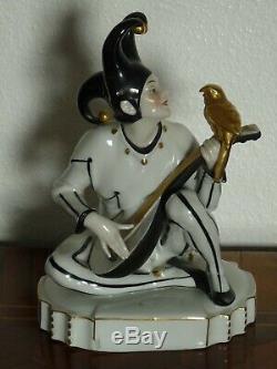 Katzhütte Hertwig & Co. Porzellan Figur Harlekin Art Deco Pierrot Porcelain
