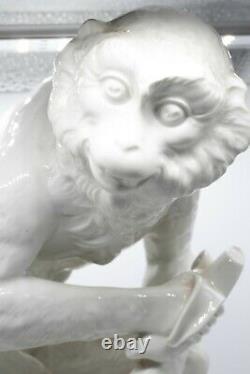 Kpm Germany 1950 Seated Monkey With Banana White Blanc D'chine Porcelain Figure