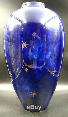 LARGE French Sevres ART DECO Vase Bleu Lapis Glaze & Gilding Sea Stars 1926