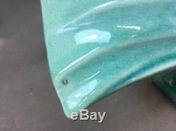 Large 1930's LEJAN France Turquoise Craquelé Art Deco Ceramic Fish