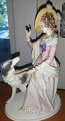 Large Art Deco Rosenthal Lady Borzoi Greyhound Dog 1940's Porcelain Statue Decor