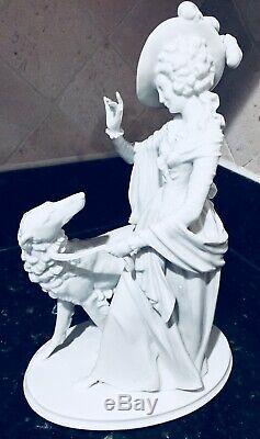 Large Art Deco Rosenthal Porcelain Lady Girl Walking Borzoi Greyhound Dog 1940s