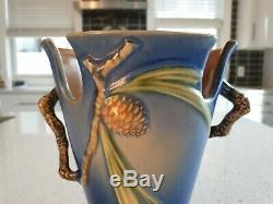 Large Rare Antique Roseville Vase Pottery Cobalt Blue Pine Cone Pattern 8438 USA