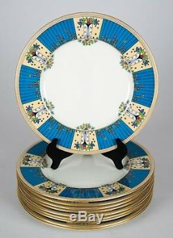 Lenox J484 Art Deco Jeweled Enamel Dinner Plates, Set of (10), Blue & Yellow