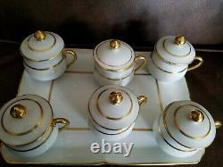 Limoges France 6 Porcelain Pot De Creme Pots with Lids And Tray