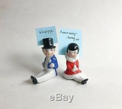 Lot Lady Gent Place Card Holder Top Hat Porcelain Figurine Germany Art Deco VTG