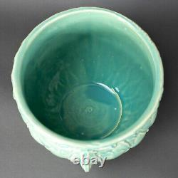 McCoy Pottery Aqua Jardiniere Planter Berries Leaves Quilted Diamonds Lg 10 3/4