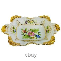 Meissen Porcelain Hand Painted Serving Dish Platter with Flowers and Gold