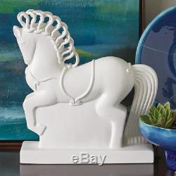 Mid Century Modern Horse Sculpture Statue Matte White Ceramic Art Deco