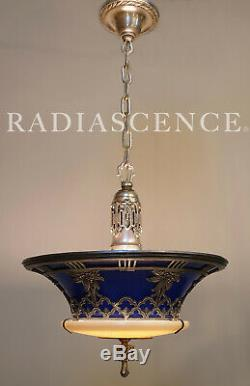Miller Art Deco Hollywood Regency Glass Porcelain Silver Chandelier Hanging Lamp
