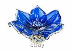 Murano Glass Fruit Bowl Vase Centerpiece & Capodimonte Porcelain Flowers Blue