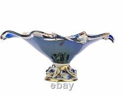 Murano Glass Vase Candy Fruit Bowl Centerpiece Capodimonte Porcelain Flower Blue