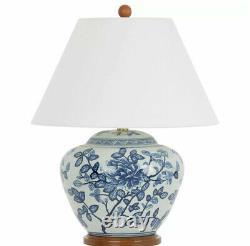 New Pair Ralph Lauren Oriental Floral Porcelain Ginger Jar Lamp Hand Painted 2x