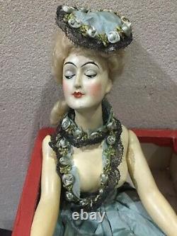 Old art deco half doll in original box