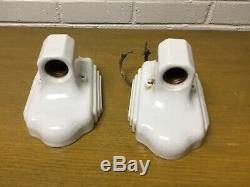 Pair Of Art Deco Porcelain Bathroom Light Fixture Sconce With Switch And Outlet