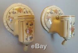 Pair PORCELIER Porcelain Ceramic Sconces, Garden Flowers, Gold Trim, Rewired