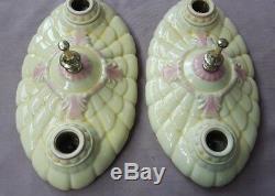 Pair Porcelier Porcelain 2-Bulb Ceiling Light Fixtures, New Wire, Art Deco Era