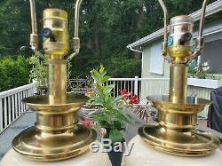 Pair Regency Vintage STIFFEL Brass Porcelain Lamps Lenox Art Deco Ivory Ceramic