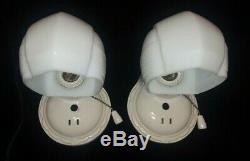 Pair Vintage Art Deco Porcelain PORCELIER Bath Wall Sconces Lights, Rewired