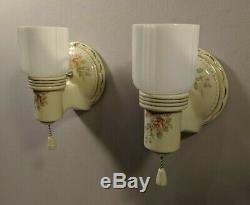 Pair Vintage Porcelier Sconces Garden Roses & Gold Trim, Opal Shades, rewired
