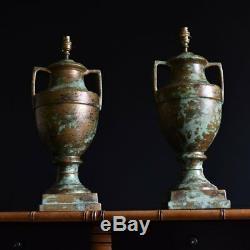 Pair of Large Oxidised Ceramic Urn Table Lamps, Circa 1930's