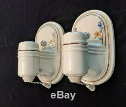 Pair of Vintage Porcelier Porcelain Sconces, New Wiring & Mounting Hardware (#3)