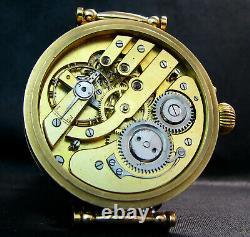 Paul Moser Antique Men's Large Art Deco Wristwatch Porcelain Dial