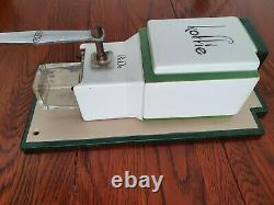 PeDe ART DECO PERIOD WALL COFFEE GRINDER PORCELAINE GLASS, METAL AND WOOD GERMAN