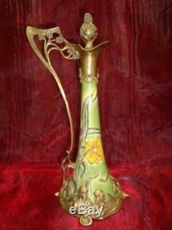 Pitcher Flower Art Deco Style Art Nouveau Style Porcelain Bronze Pitcher