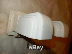 Pr. Art Deco Porcelain Bathroom Wall Sconces Milk Glass Shades w Pull Chains